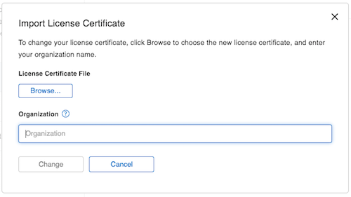 Screenshot of the Import License Certificate dialog window