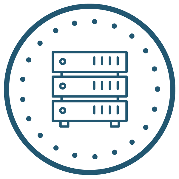 Icons of server inside of a circle